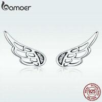 BAMOER Women Stud Earrings S925 Sterling Silver Feather With CZ Hot Jewelry