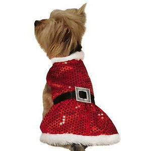 Zack & Zoey Mrs. Claus Sequin Dog Dress Pet Christmas Xmas Red Outfit Santa