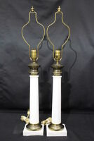 "Pair of 2 Vintage Hollywood Regency WHITE OPALINE Glass & Brass 32"" Table Lamps"