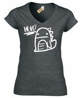 Donna Huh Confuso Dinosauro Grafico Tee Carino Dino Scollo a V T Shirt Maglietta