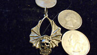 bling pewter myth motorcycle skull biker pendant charm hip hop necklace jewelry