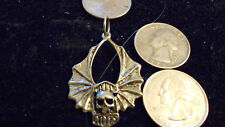 bling pewter wing motorcycle skull gothic pendant charm leather hip hop necklace