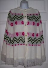 WOMEN'S Knit Poncho Size Small Quality White Fringed Winter CAPE Green Red Print