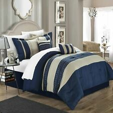 Carlton Navy & Almond 10 Piece Comforter Bed In A Bag Set
