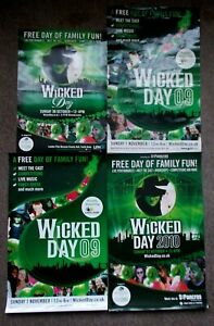"""4 """"Wicked Day"""" Wicked the Musical theatre posters 2009, 2010, 1 cast signed"""