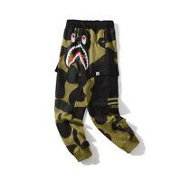 Men's A Bathing Ape Bape Shark Head Loose Casual Camouflage Sports Long Pants