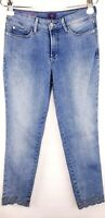 Not Your Daughters Jeans NYDJ Blue Clarissa Skinny Ankle Embroidered Hem Size 6