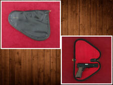 Vintage Factory Browning Hi-Power Pistol Case Black w/ Red Interior Rug Pouch