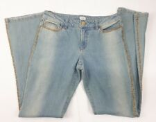 Caché Novelty Chain Embellished Denim Jeans Women Size 8 Washed Blue NEW
