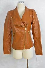Guess faux leather moto jacket,  cognac   size S   NWT