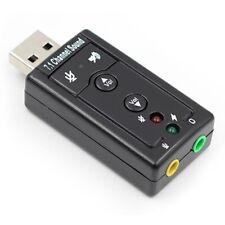 External USB Sound Card Adapter Virtual 7.1 Ch 3D Audio 3.5mm for PC Mac Laptop