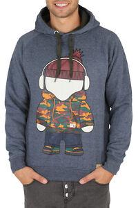 """Mens HUMOR Hoody Jumper """"Porter"""" Sweatshirt Crew Neck Cotton Graphic- Dark Grey"""