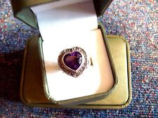 SUPER/STERLING SILVER/STATEMENT/FAUX AMETHYST/SPINEL/HEART RING/SIZE Q