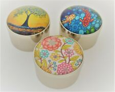 Ciel Collectables Floral Glass Top Trinket Box. Set of 3 pcs. Silver Plated