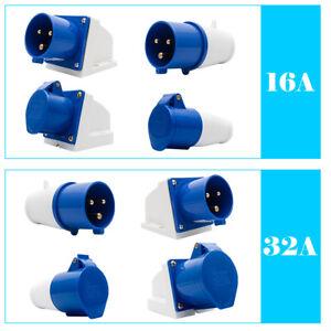 16A/32A 240V 3Pin Blue Industrial Plug & Sockets IP44 Camping Caravan Industrial