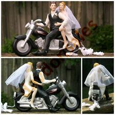 Motorcycle Biker Wedding Cake Topper Harley Davidson Groom Bride Couple Gift New