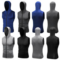 Men's Compression Vests Hooded Workout Running Gym Basketball Zip up Tank Tops