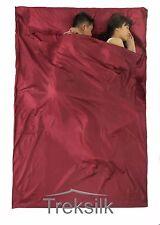 TREKSILK Double BURGUNDY Silk Liner Sleeping Bag Hostel Sheet Camping Summer