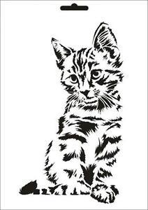 Wandschablone Maler T-shirt Schablone W-631 Katze ~ UMR Design