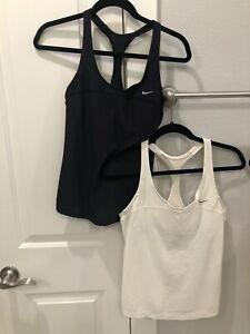lot of 2 women's nike tank tops black & white