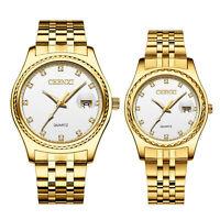 Mens Womens Luminous Watch Stainless Steel Quartz Wrist Gold Tone Bracelet Gift