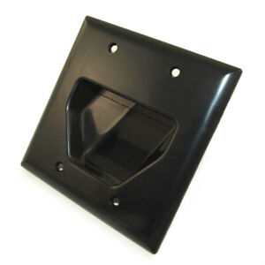 Wall plate: Double-Gang Recessed Cable Pass-thru  Black