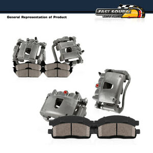 Front + Rear Brake Calipers + Ceramic Pads For Chevy Equinox GMC Terrain