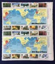 Full Sheet 1944 Road to Victory US Postal 29 Cent Stamps World War II