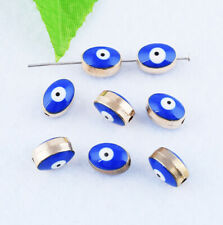 Metal Oval Blue Evil Eye Spacer Charm Beads Loose Jewelry Findings DIY 10mm