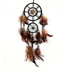 Feather Crafts Brown Wind Chimes Handmade Dreamcatcher Wall Car Home Decoration