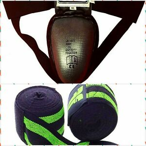 Muay Thai Boxers Fighters Steel CUP Elastic waist Groin protector XL Green WRAPS