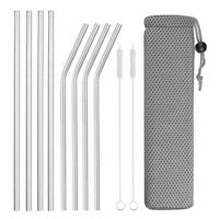 Reusable Metal Drinking Straws 4/8pcs 304 Stainless Steel Sturdy Bent Straight