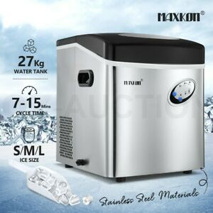 Maxkon Commercial 27KG Ice Maker Machine Fast Freezer Ice Cube Tray Silver