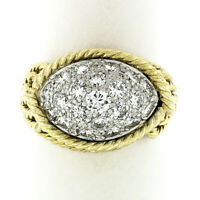 Vintage 18k Gold & Platinum 1.40ct Diamond Dome Twisted Wire Statement Band Ring