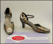 HOMY PED COMFORT WOMEN'S METALLIC CLASSIC DRESS HEELS SHOES SIZE 1O AU, 8 UK