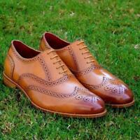 Dress Shoes Mens Classic Oxfords Brogue Wingtip Light Tan Genuine Calf Leather