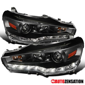 For 2008-2015 Mitsubishi Lancer EVO 10 Black Projector Headlights+LED Left&Right