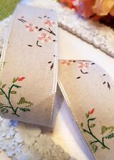 """2m  FRENCH LINEN RIBBON -  DITSY VINTAGE FLORAL -1.5"""" WIDE   WEDDINGS ETC."""