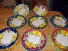 set piatti vietresi Vietri  pz 12  fiori limoni  dipinti artigianali