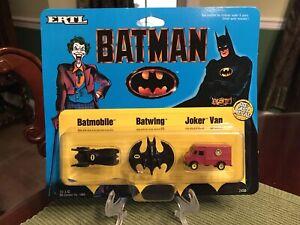 1989 Ertl Micro Batman Batmobile Batwing Joker Van Die Cast NOS 1:128 NEW MOC