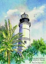 Key West Lighthouse Artist ACEO 2.5 x 3.5 art card by Roxanne Tobaison