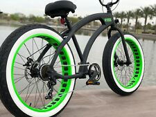 Aluminum Fat Tire Bike Beach Cruiser 🌴SIKK 7 SPED FLAT BLACK W GREEN