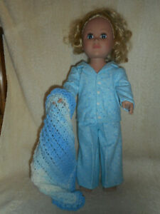 18 doll clothes fits American Girl & My Life etc - starry nights pajamas, afghan