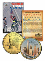 WORLD TRADE CENTER 10th Anniversary 9/11 NY State Quarter Coin 24K Gold Plated