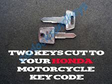 1984-2007 Honda Elite Scooter Keys Cut By Code - 2 Working Keys