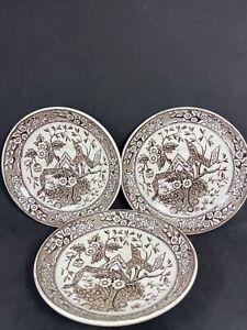 "Antique Wedgewood ""Beatrice"" Plates 1880 Brown Transferware 6.5"" Set Of 3"
