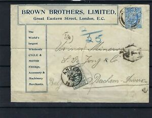 [M145515] Belgium N°TX9 on Cover from London 1903 COB € +45,00 UNG