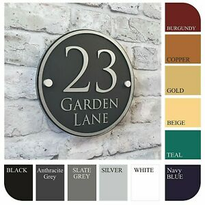 Personalised House Sign/Address Plaques & Door Numbers Contemporary ROUND