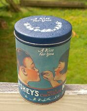 "1980 Hershey's Metal Tin Milk Chocolate A Kiss For You 14oz Blue Girl Boy 6"""