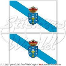 """Galicia Gallego Bandera España Galiza Galego Bandera 75 mm (3 """") etiquetas engomadas, calcomanías X2"""